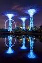Super tree garden by the bay singapore jun night view of in gardens on june in singapore park is reclaimed land in central Royalty Free Stock Photos