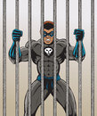 Super villain who is angry and behind bars Stock Photos