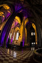 Super wide view inside of illuminated saint Stephen's cathedral at downtown of Vienna Royalty Free Stock Photo