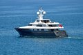 Super yacht boat cruising pacific ocean costa rica off coastline jaco flying london flag Stock Images