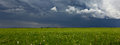 Supercell storm clouds above meadow with green grass Summer Stor Royalty Free Stock Photo