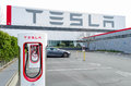 Superchargers at Tesla Motors factory Royalty Free Stock Photo