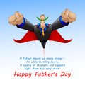Superdad flying with son vector illustration of Stock Photography