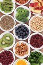 Superfood health food selection in white bowls Stock Photo