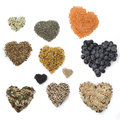 Superfood hearts grains and berries Royalty Free Stock Image