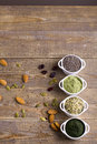 Superfood raw seeds and powder Royalty Free Stock Photo