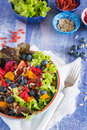 Superfood salad super healthy with goji berries apricots and blueberries Stock Photography