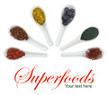 Superfoods in porcelain spoons pollen goji berries blueberries spirulina hippophae and saffron Royalty Free Stock Image