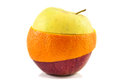 Superfruit - yellow apple, red apple and orange Royalty Free Stock Photos