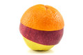 Superfruit - yellow apple, red apple and orange Royalty Free Stock Photo
