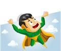 Superheld hebt Zeichen an Stockfotos