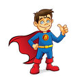 Superhero boy boys were standing with hands on hips and thumbs up Royalty Free Stock Photo