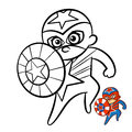 Superhero Boy Coloring Book. Comic character isolated on white background