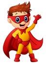 Superhero boy waving hand