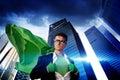 Superhero Businessman Strength Cityscape Cloudscape Concept Royalty Free Stock Photo