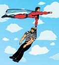 Superhero capturing villain. Royalty Free Stock Photo