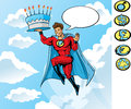 Superhero carrying a birthday cake Stock Photos