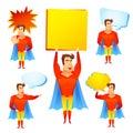 Superhero cartoon character with speech bubbles
