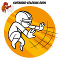 Superhero Coloring Book. Comic character isolated on white background