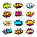 Superhero comic book bubbles set, cool blast and crash sound effect Royalty Free Stock Photo