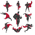 Superhero comics set actions in style on white background Stock Photography