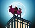 Superhero Couple. Male and female superheroes. Cloudy sky. Vecto