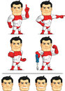 Superhero customizable mascot a vector set of a confident in several poses drawn in cartoon style this vector is very good for Stock Photos