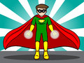Superhero energy projection a cartoon illustration of a preparing his Royalty Free Stock Images