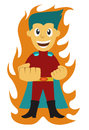 Superhero with Fire on the Background Cartoon