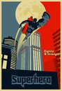 Superhero flying through the night city. Blue and red graphic poster.