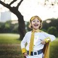 Superhero Girl Cute Happiness Fun Playful Concept