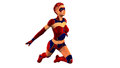 Superhero Girl flying in red and blue costume, fantasy redhead girl on white