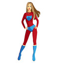 Superhero girl super hero in red Royalty Free Stock Photos