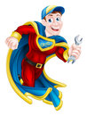Superhero holding spanner illustration of a cartoon mechanic or plumber mascot a Royalty Free Stock Photo