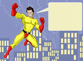 Superhero illustration of a mighty in bright costume Stock Image