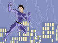 Superhero illustration of a mighty in bright costume Royalty Free Stock Image