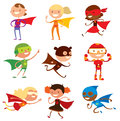 Superhero kids boys and girls cartoon vector