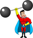 Superhero one armed weightlifter power isolated illustration of lifting heavy cartoon weights above head white eps available Stock Photography