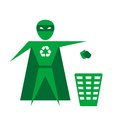 Superhero picture of a throwing trash into the container vector eps illustration Stock Photos