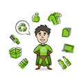 Superhero with recycle sign vector illustration Royalty Free Stock Photo