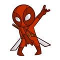 Superhero Red Ninja Sticker Royalty Free Stock Photo