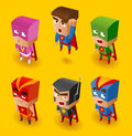 Superhero set isometric vector illustration Royalty Free Stock Photo