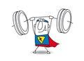 Superhero weight lifter Royalty Free Stock Photo