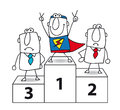 Superhero is the winner number one and super businessman Stock Images