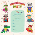 Superheroes. Card invitation with group of cute little animals