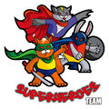 Superheroes funny animals – cat rabbit and squirrel mock vector illustration Royalty Free Stock Photography