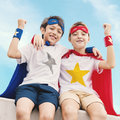 Superheroes Kids Boy Friend Buddy Concept