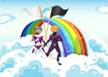 Superheroes in the sky near the rainbow illustration of Stock Images