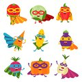 Superheroes vegetables in different costumes set of colorful vector Illustrations