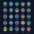 Superheroes and Villains Flat Icons Pack
